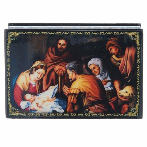 Scatoletta russa papier machè  La Nascita di Cristo 9X6 cm s1