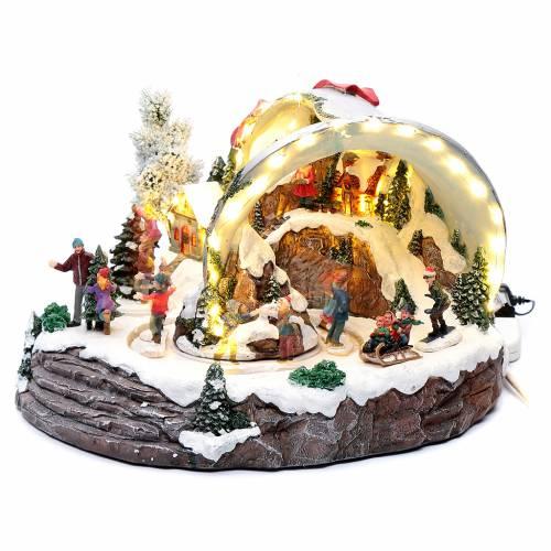 Scena campana di Natale 25x35x40 cm s2