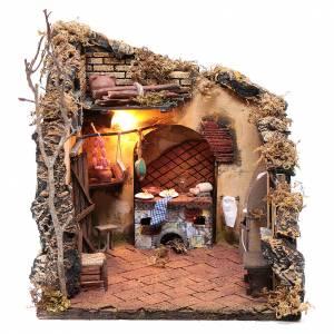 Scena interno casa illuminata 30x30x30 ambiente presepe napoletano s1