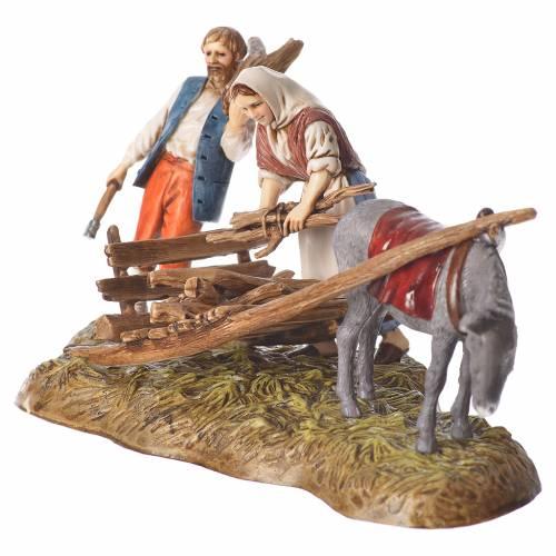 Scene of wood collection, nativity figurines, 10cm Moranduzzo s2