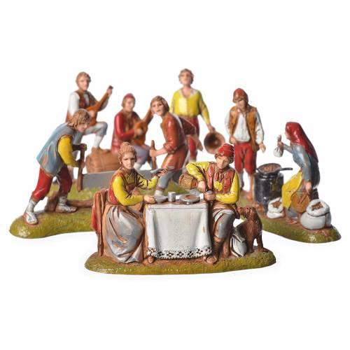 Scene with 4 nativity figurines, 6cm Moranduzzo s1
