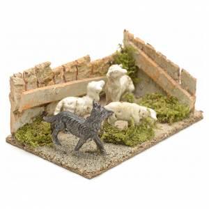 Krippentiere: Schafe mit Hund: Szene für die Krippe