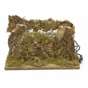Bewegliche Krippenfiguren: Schafherde mit Schäfer bewegliche Krippenszene 33x18 cm