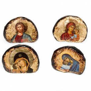 Icons printed on wood and stone: Screen-printed terracotta icons, Jesus and Mary