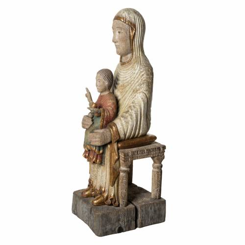 Seat of Wisdom statue in old finishing painted wood 72cm Bethlee s3