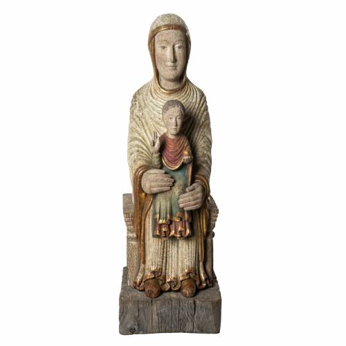 Seat of Wisdom statue in old finishing painted wood 72cm Bethlee s1