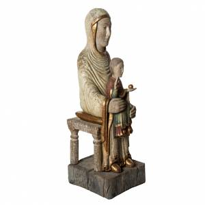 Seat of Wisdom statue in old finishing painted wood 72cm Bethlee s2