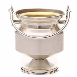accessoires pour bénédictions: Seau à eau bénite, laiton argenté lisse