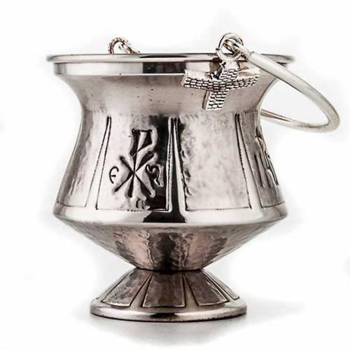 Secchiello per acqua santa ottone martellato s2
