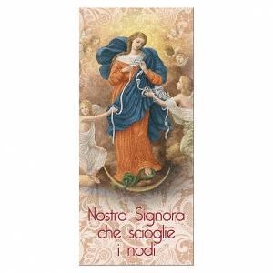 Segnalibro: Segnalibro carta perlata Madonna scioglie Nodi Preghiera 15x5 cm ITA