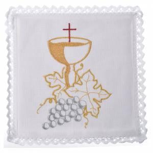 Servizio da altare 100% lino calice con uva s1