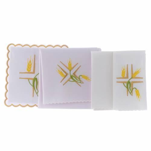 Servizio da altare cotone spighe gialle e stelo verde s2