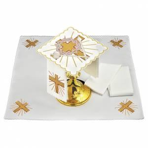 Servizio da altare lino croce lancia corona di spine s1