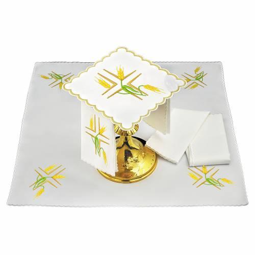 Servizio da altare lino spighe gialle e stelo verde s1