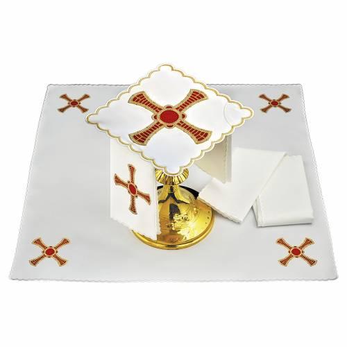 Set linge autel coton croix rouge or avec rayures s1