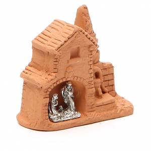 Shack and miniature Nativity natural terracotta 6x7x3cm s3
