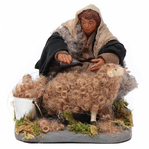 Shearer with sheep 10 cm for nativity set s1