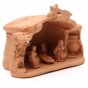 Shed and Nativity natural Terracotta 11x14x7cm s3