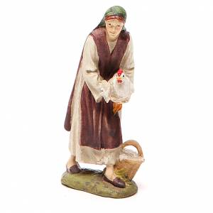 Nativity Scene figurines: Shepherdess with hen in painted resin 10cm affordable Landi Collection