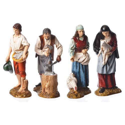 Shepherds, 4 nativity figurines, 12cm Moranduzzo s1