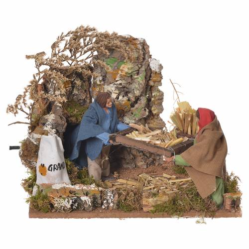 Shepherds with wheat, 12cm animated nativity s1