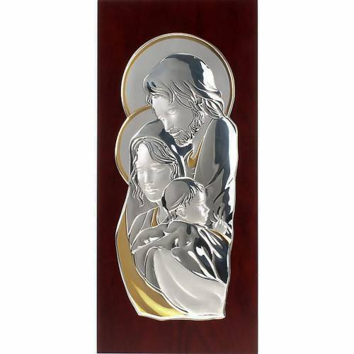 Silver/gold rectangualr Bas Relief Holy family s1