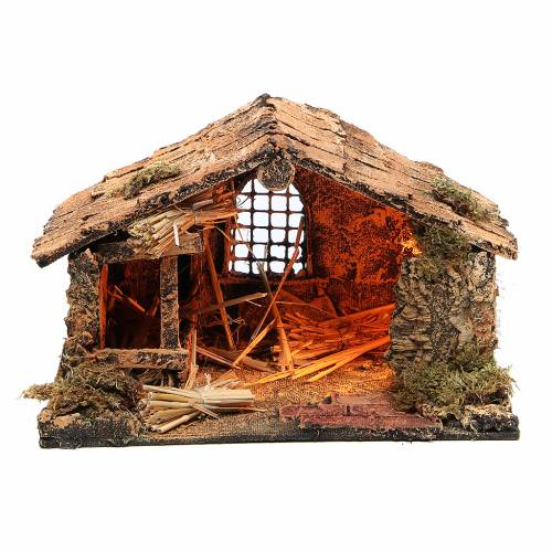 Simple stable with hay for Neapolitan Nativity measuring 18x29x21cm s1