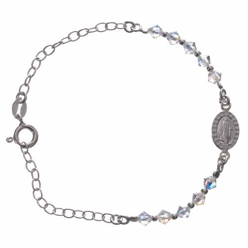 Single decade Bracelet silver 800 Medal and white Swarovski 4mm s1