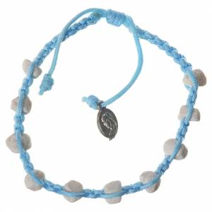 Bracelets, peace chaplets, one-decade rosaries: Single-decade Medjugorje bracelet with stone and blue cord
