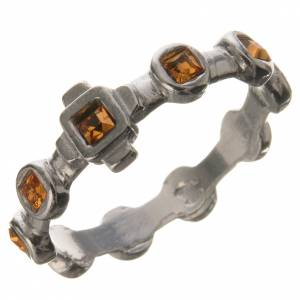 Single-decade ring in 800 silver and yellow Swarovski s1