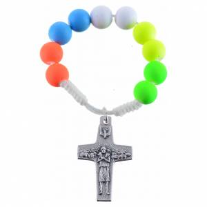 Single decade rosaries: Single decade rosary beads in multicoloured fimo, Pope Francis