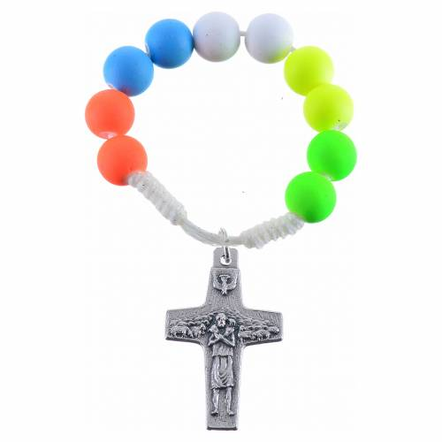Single decade rosary beads in multicoloured fimo, Pope Francis s1