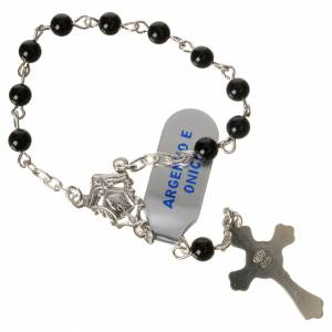 Single decade rosaries: Single-decade rosary in 800 silver and onyx
