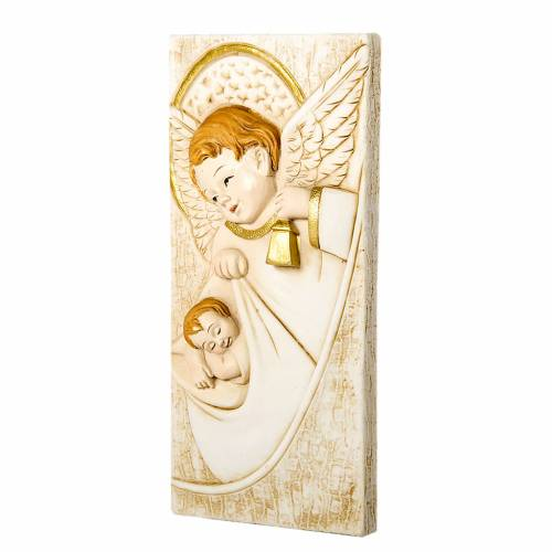 Small painting Guardian Angel rectangular shaped 5x10cm s1
