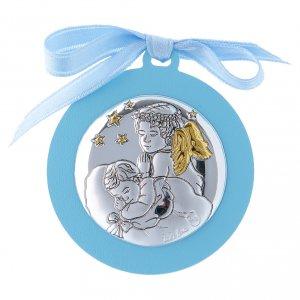 Sopraculla Angeli con stelle nastro azzurro bilaminato finiture oro 4 cm s1
