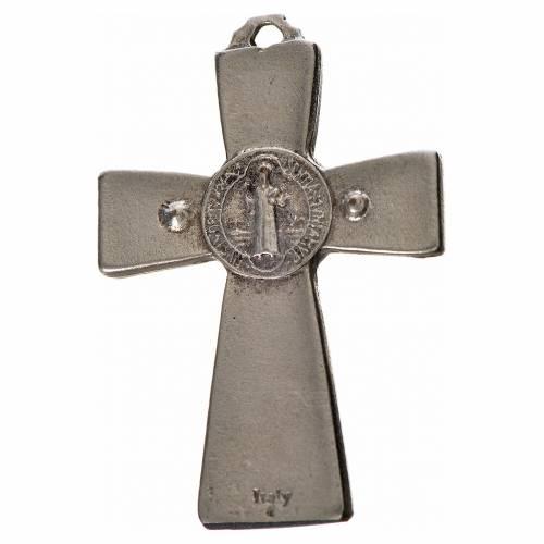 St. Benedict cross 4.8x3.2cm in zamak and blue enamel s2