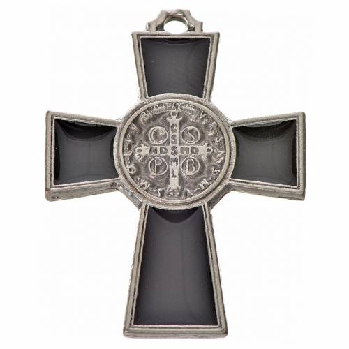 St. Benedict cross 4x3cm, in zamak and black enamel s2
