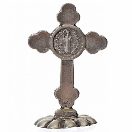 St. Benedict table trefoil cross 5x3.5cm, made of zamak and blue s2