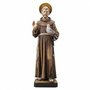 Hand painted wooden statues: St Francis wooden statue painted