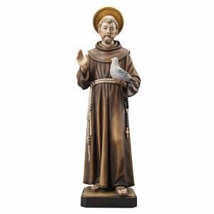Statue in legno dipinto: Statua legno San Francesco dipinta Val Gardena