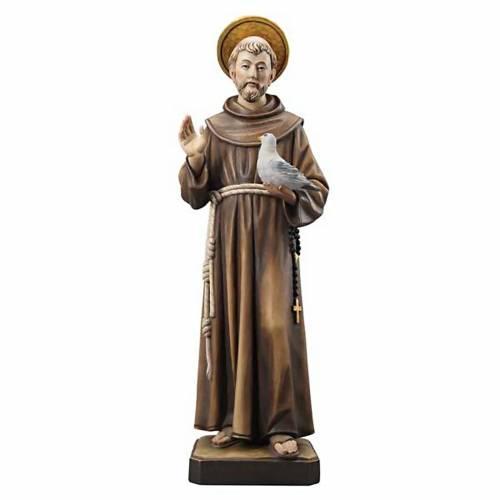 Statua legno San Francesco dipinta Val Gardena s1
