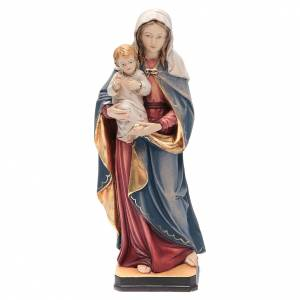 Statue in legno dipinto: Statua Madonna Bambin Gesù legno Valgardena colorato