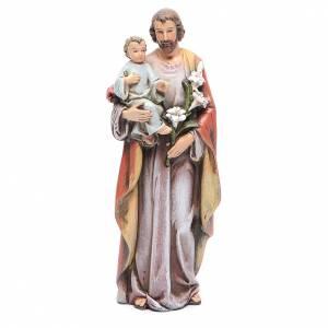 Statue in legno dipinto: Statua San Giuseppe con Bambino pasta legno colorata 15 cm