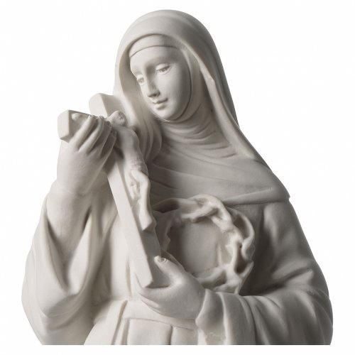 Statua Santa Rita polvere di marmo bianco 39 cm s2