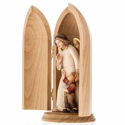 Statue Ange gardien avec enfant dans niche bois peint s5