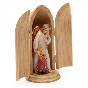 Statue Ange gardien avec fille dans niche bois peint s4