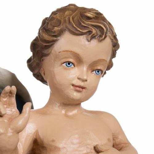 Statue Notre-Dame à l'enfant marbre 85cm peinte s3
