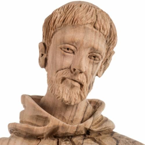 Statue Saint François bois d'olivier Terre Sainte 30cm s12
