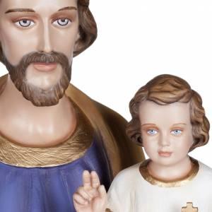 Statue St Joseph à l'enfant marbre 100cm peinte s3