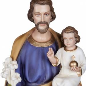 Statue St Joseph à l'enfant marbre 100cm peinte s2